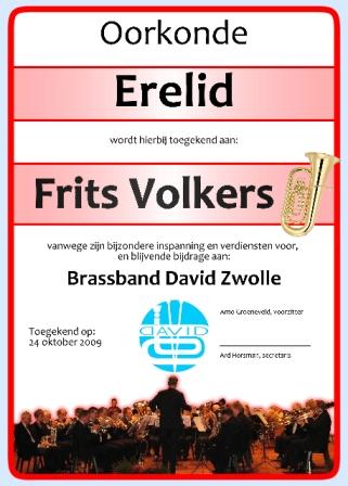 Oorkonde ere-lid Brassband David voor Frits Volkers