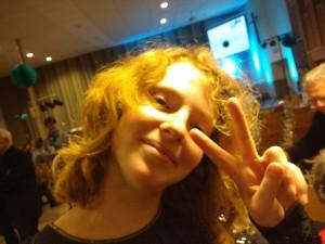 Mirjam is blij na het optreden